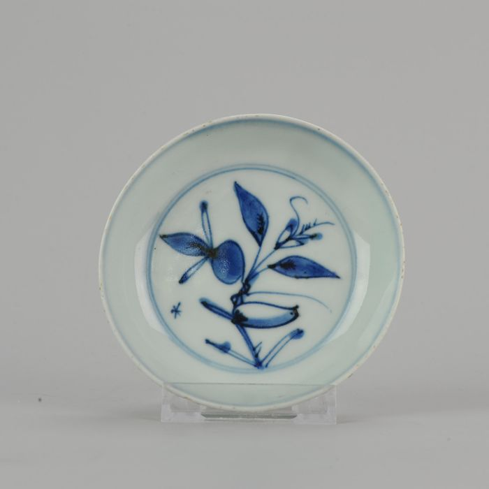 Plate - Blue and white - Porcelain - Bird and fruit - China - Ming Dynasty (1368-1644)