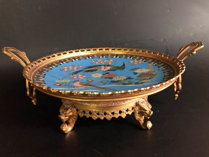 Cloisonne plate mounted in a bronze Napoleon III mounting - Bronze - Japan - Napoleon III and 19th century - Catawiki