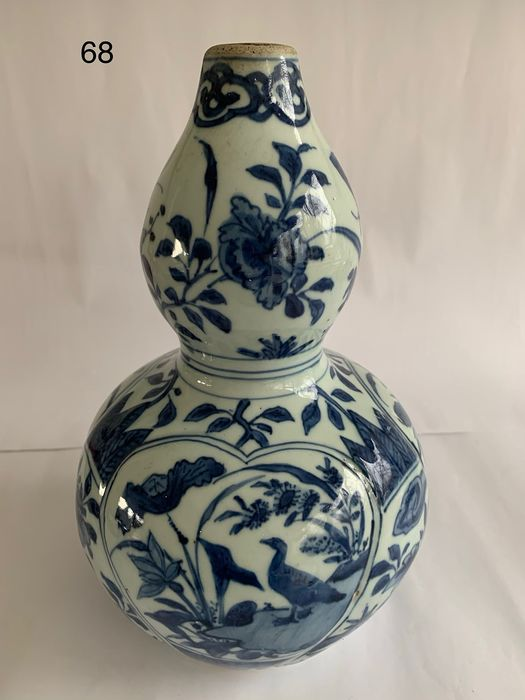 Vase - Blue and white - Porcelain - Bird, Flowers - Double gourd shape - China - Wanli (1573-1619) - Catawiki