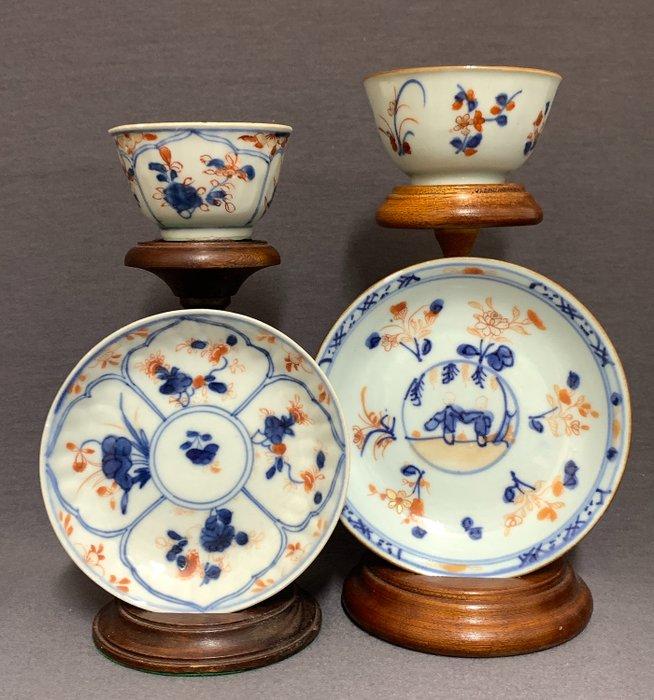 Cup, Saucer (4) - Porcelain - Playing twins and florals - China - Kangxi (1662-1722) - Catawiki