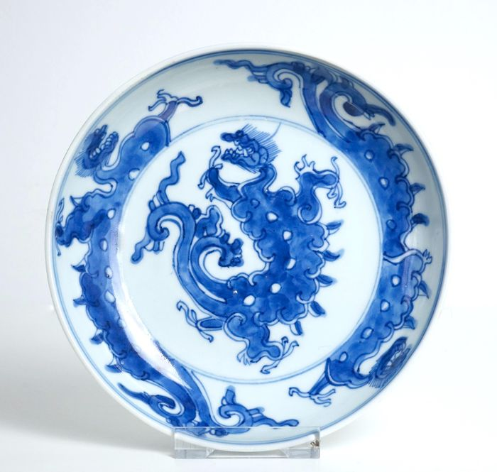 Blue and White Dish with Dragons - Porcelain - China - Kangxi (1662-1722)