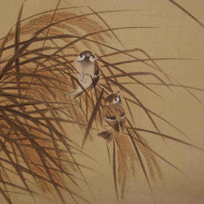 Hanging scroll, Painting - Silk - Bird, Rice Plant - with signature 'Seiki 清暉' - Japan - Early 20th century - Catawiki