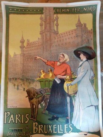 Cartel publicitario del tren del siglo XIX que unió Paris con Bruselas. Imagen para Los europeos, de Orlando Figes.