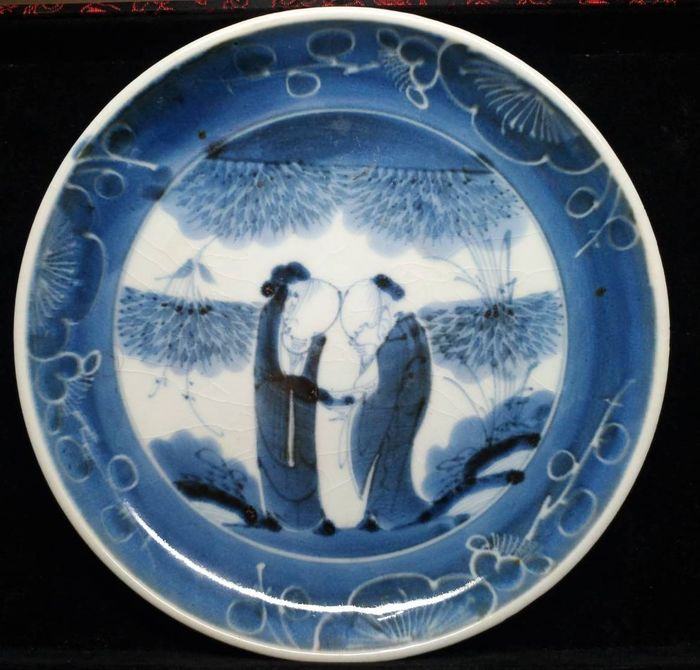 Plate - Blue and white - Porcelain - Scholars - Japan - 18th century