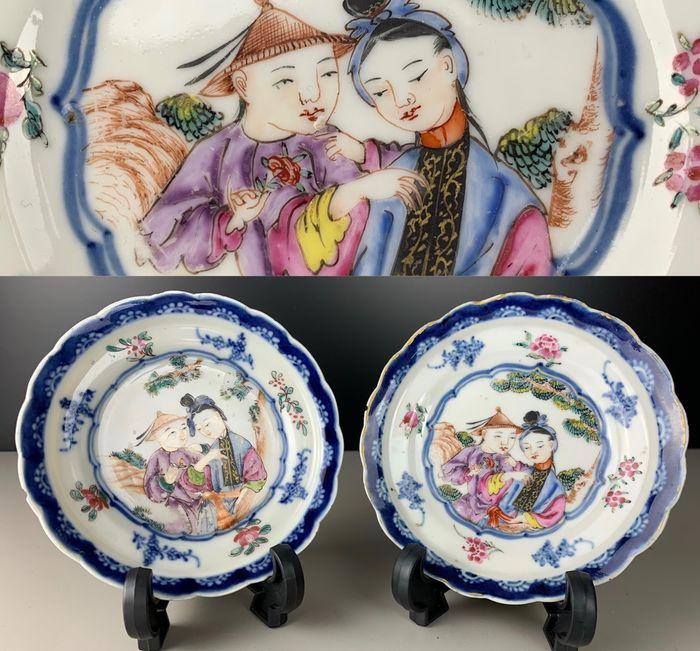 Excellent pair of small plates with polychrome figures - Porcelain - China - Qianlong (1736-1795) - Catawiki