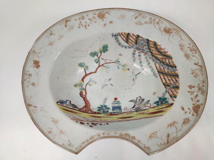 beard dish - Famille rose - Porcelain - Bird, Flowers - Chinese Export - French market - L'autel de l amour - China - Qianlong (1736-1795) - Catawiki