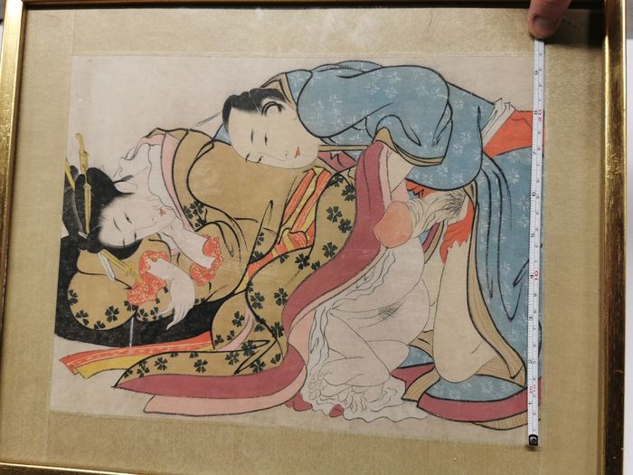 Original woodblock print, Shunga - Lovemaking - Japan - ca 1900 (Late Meiji period)