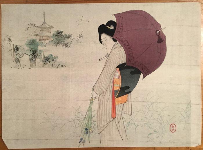 Kuchi-e, Original woodblock print - Mizuno Toshikata (1866-1908) - Schoonheid met een parasol - 1901 - Japan - Catawiki