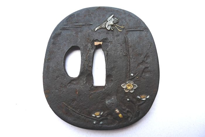 Japanese gold silver inlay egret peony flower motif tsuba - Iron - Japan - Edo Period (1600-1868) - Catawiki