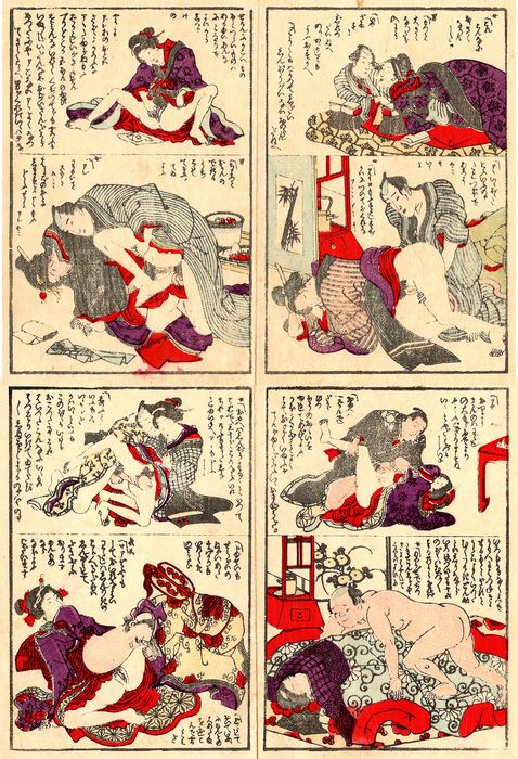 """Original woodblock print, Shunga - Eight illustrations on two double pages from the shunga book """"Iwase Shellfish"""" いわせ貝 - Late 19th century - Japan - Catawiki"""