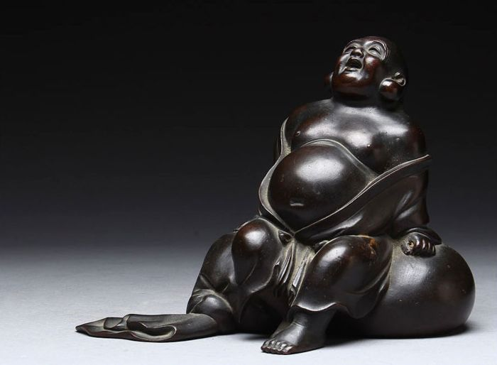 Okimono (1) - Bronze - Very fine okimono of Budai (Hotei) - Japan - first half 20th century / mid 20th century - Catawiki