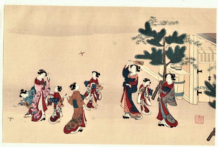 Woodblock print (reprint) - Kawamata Tsunemasa (active circa 1740-1770) - Oihago (Playing Beauty) - ca 1925 - Japan - Catawiki