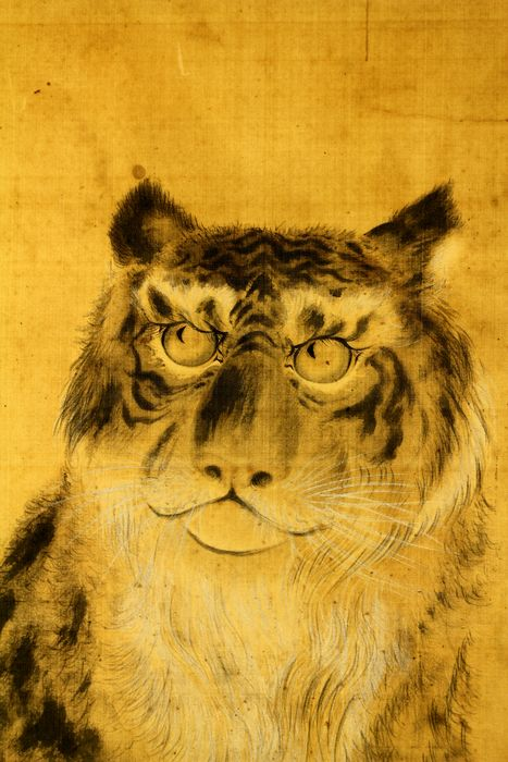 Hanging scroll - Silk - Tiger - no signature - Japan - Early 20th century - Catawiki