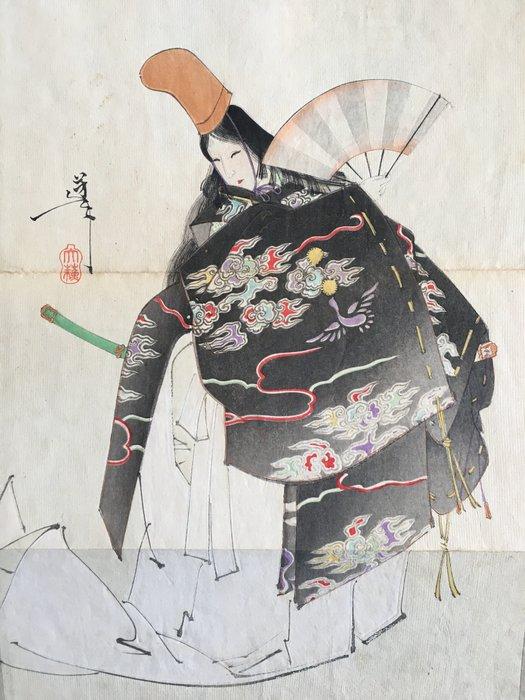"""Book, Original woodblock print - Imao Keinen (1845-1924), Kawanabe Kyosai (1831-1889), Tsukioka Taiso Yoshitoshi (1839-1892), Watanabe Seitei (1852-1918), and many more - """"Bijutsu Sekai"""" 美術世界 (World of Art), vol 24 - Japan - 1893"""