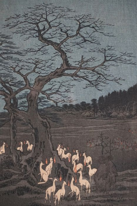 """Woodblock print (reprint) - Utagawa Hiroshige (1797-1858) - 'New Year's Eve Foxfires at the Changing Tree, Ôji' - From """"One Hundred Famous Views of Edo"""" - Japan - Early 20th century"""