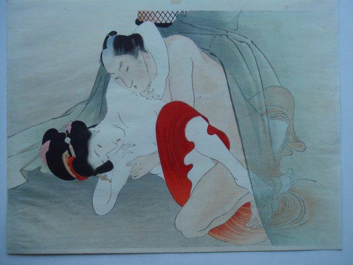 "Original woodblock print, Shunga - Tomioka Eisen (1864-1905) - From ""Yakumo no chigiri"" 八雲の契り (The Promise of 'Eight Clouds') - Japan - ca 1895-1900 (Late Meiji period) - Catawiki"