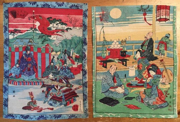 Chirimen-e, Original woodblock print (2) - Chirimen-gami (縮緬紙) houtblok prenten; afbeeldingen van oa samoerai strijders en een buitentafereel - Japan - ca 1900 (Meiji period) - Catawiki