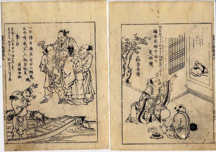 Original woodblock print (2) - Ōoka Shunboku (1680-1763) - Divinités - Japan - ca 1750
