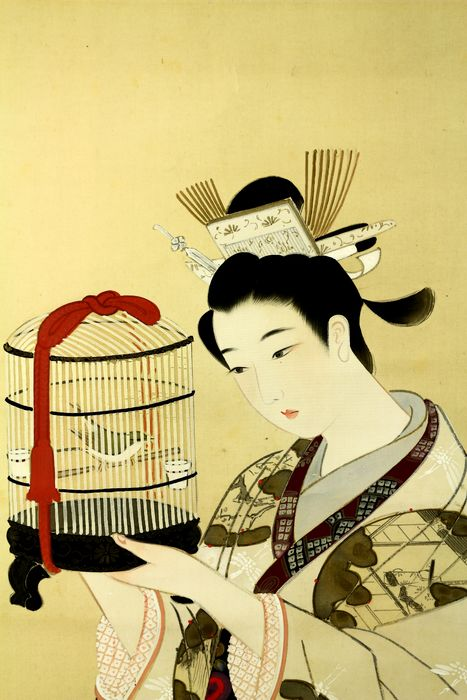 Hanging scroll - Silk - Beauty viewing warbler - With signature and seal 'Hoen' 豊園 - Japan - ca 1912-40 (Taisho/Early Showa)