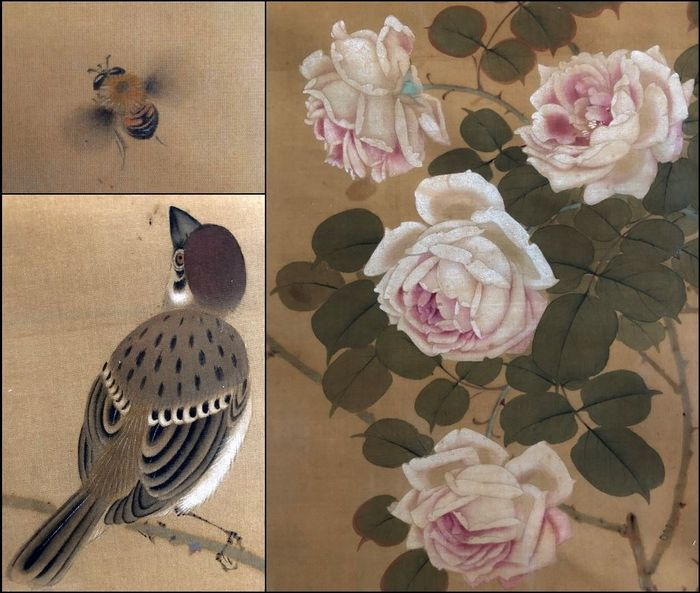 """""""Sparrow with Bee and Roses"""" - Huge, very beautiful scroll (208cm!) - Handpainted on silk - Japan - ca. 1920 - Catawiki"""