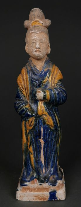 Ancient Chinese Ming Dynasty Glazed Terracotta Court Lady Statue