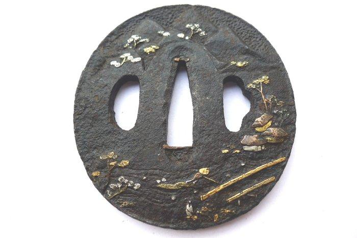 Japanese gold silver inaly nature scenery motif tsuba - Iron - Japan - Edo Period (1600-1868)