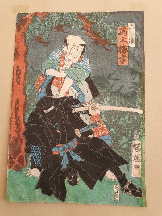 Original woodblock print - Actor Onoe (Baiko) Kikugoro in the role of Mutsuura - Japan - 1865
