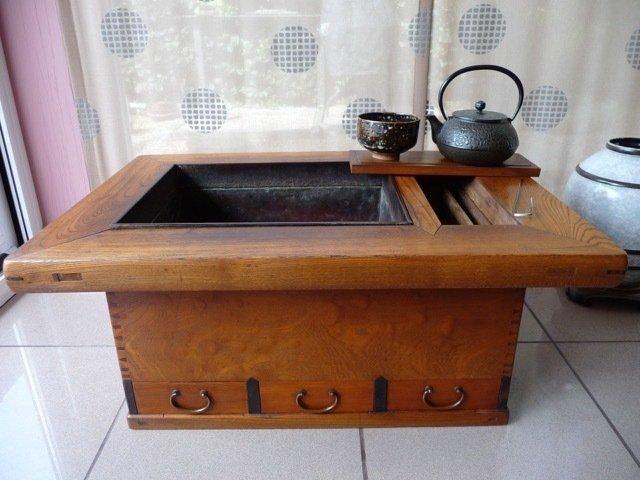 Kansai naga-hibachi (1) - Kaki; iron, copper, ebony - Japan - Taishō period (1912-1926)