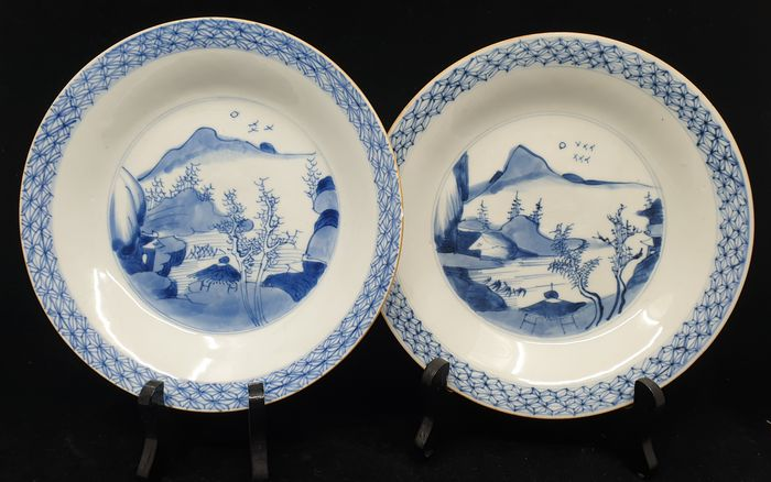 Plates (2) - Blue and white - Porcelain - Landscape - Yongzheng / Chienlung - China - 18th century - Catawiki