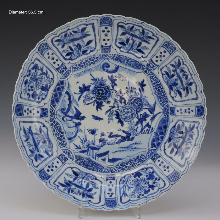 Charger (1) - Blue and white - Porcelain - Landscape with flowers and geese - China - Wanli (1573-1619)