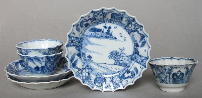 Tea cup, Tea tile (6) - Porcelain - China - 18th century