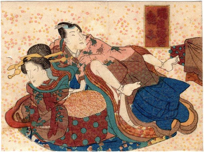 "Original woodblock print, Shunga - Utagawa School (歌川派) artist - Couple of Lovers from the series ""Amorous Women of the Fashionable Floating World"" (風流浮世艶子) - Japan - nineteenth century - Catawiki"