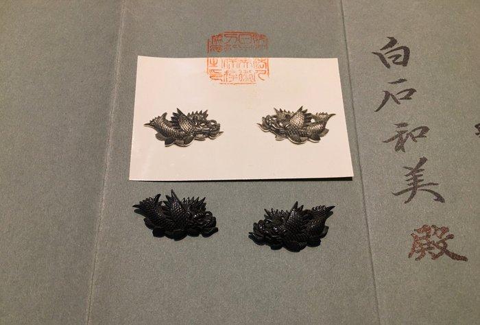 Menuki - shakudo - Goto - Shachi menuki in shakudo with NBTHK paper - Japan - Edo Period (1600-1868)