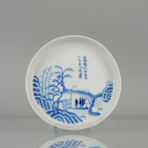 Plate - Blue and white - Porcelain - Antique Chinese Figures in a Landscape Calligraphy Blue de Hue - China - 19th century
