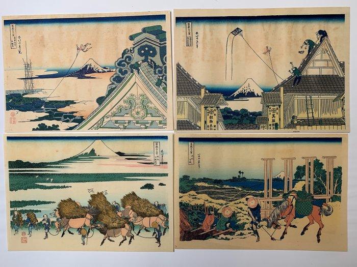 "Set of 4 woodblock prints (reprint) - Katsushika Hokusai (1760-1849) - From the series ""Thirty-six Views of Mount Fuji"" - Japan - 1960s"