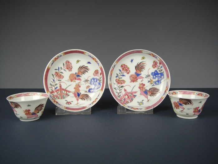 Two sets of cups and saucers - Porcelain - China - 18th century