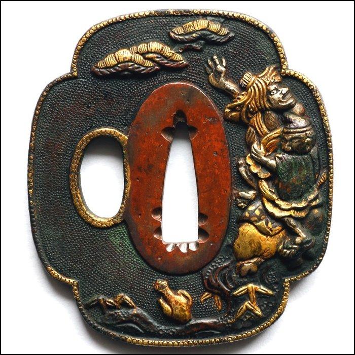 Tsuba (1) - Shakudo japanese katana guard - Chokwaro design - Yokoya school - Edo period