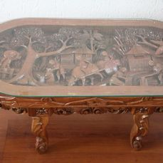 hand carved large oval coffee table