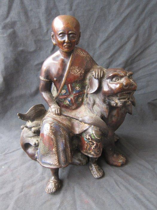 Large bronze cloissoné statue - Bronze - Japan - 19th century