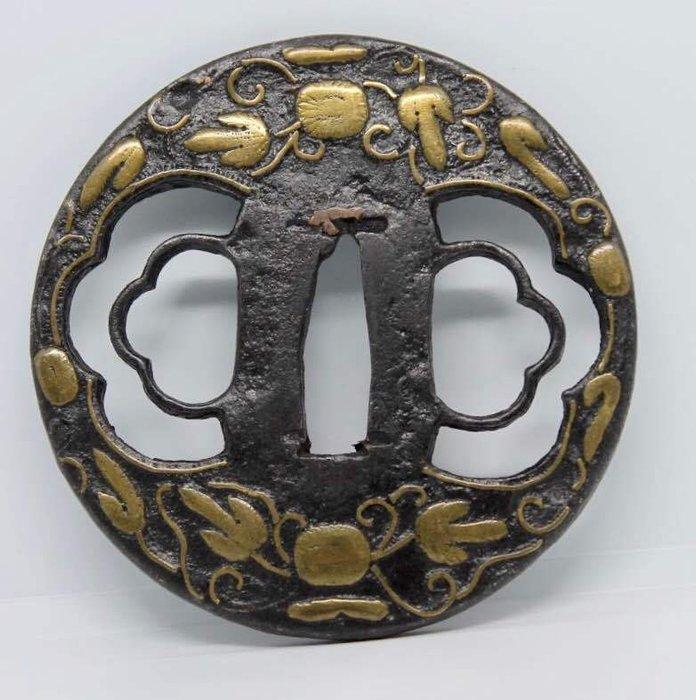 Tsuba - iron, brass - Japan - Early Edo period