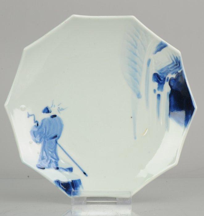 Plate - Porcelain - Antique Japanese porcelain pentagonal plate Figure with Staff - Japan - 19th century