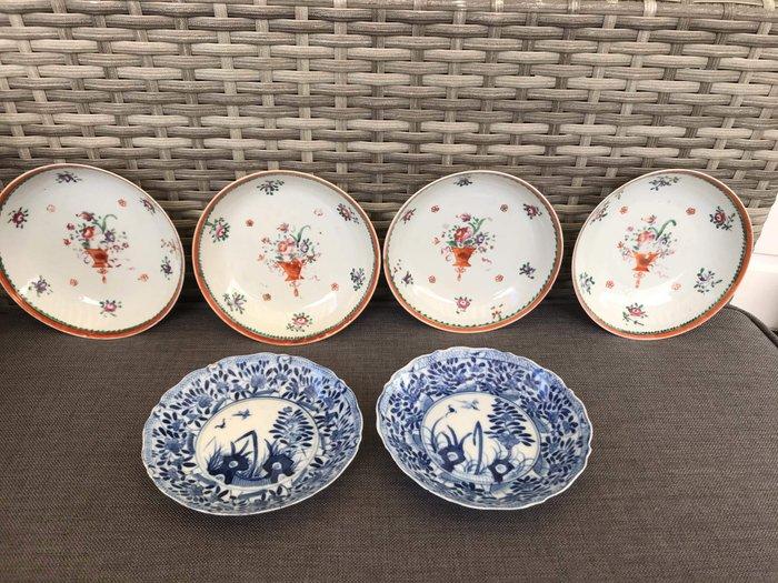 Plates (6) - Famille rose - Porcelain - Famille Rose flowers in vase. birds and flowers - 6 borden. 4 Famille Rose en 2 18e eeuw. - China - Qing Dynasty (1644-1911)