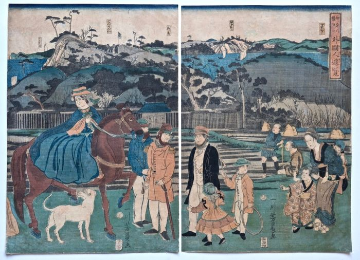 Woodblock print (2) - Paper - Yokohama print - Utagawa Yoshikazu (act. 1848-1870) - Foreigners Visiting the Famous Site of Mt. Gongen in Kanagawa - Japan - Edo Period (1600-1868)