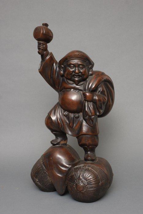 Statue - Bronze - Large heavy bronze statue of Daikoku, one of the 7 lucky gods - Japan - Taishō period (1912-1926)