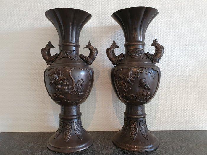 Vases (2) - Bronze - Meiji period - Japan - 19th century