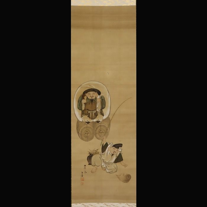 "Hanging scroll painting (1) - Silk - Ebisu,Daikoku - Yamakawa Hōkyo(?-?) - Yamakawa Hōkyo(?-?) - ""Ebisu, Daikoku"" - With signature 'Hokyo' 法挙 - Japan - Taishō period (1912-1926)"