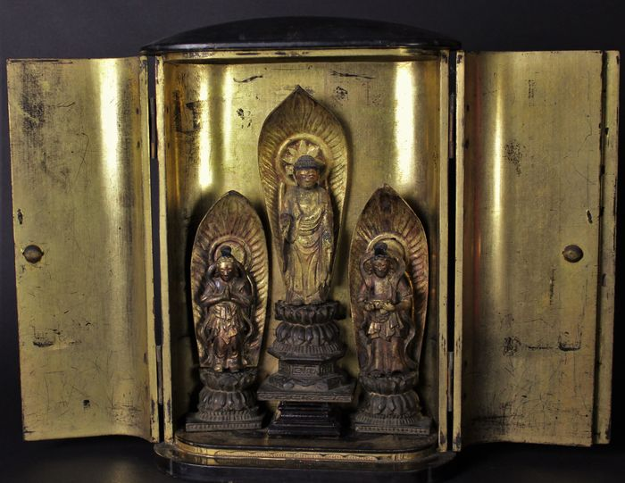 Butsudan - Copper, Gilt lacquered wood, Wood - Buddhist figure - Japan - Edo Period (1600-1868)
