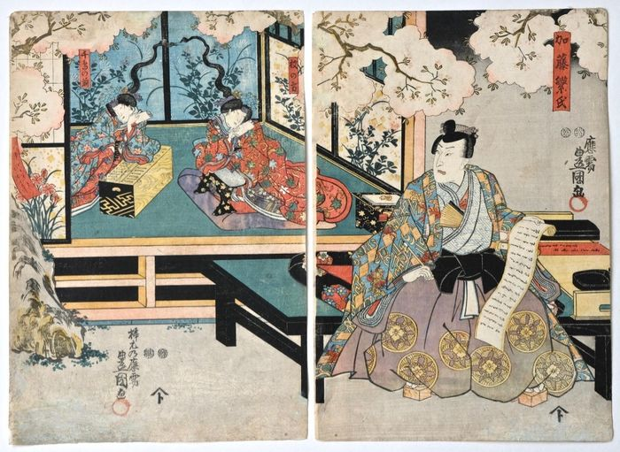 Woodblock print (2) - Paper - yakusha-e (actor print) - Utagawa Kunisada (1786-1865) - Zôho Tsukushi no Iezuto - Japan - Edo Period (1600-1868)