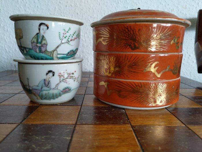 Tea caddy (3) - Famille rose - Porcelain - Woman - China Familie rose Deckeldosen Ende des 19Jahrhunderts - China - Late 19th century