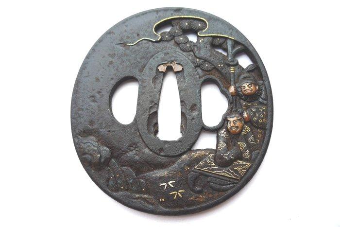 Beautiful gold inlay priest with busho motif big stub with box - Iron - Japan - Edo Period (1600-1868)